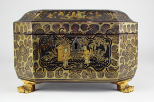 Small Vintage Octagonal Black and Gilt Lacquer Chinese Tea Caddy