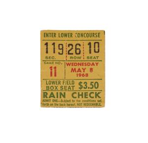 PSA 1968 Catfish Hunter Perfect Game Ticket Stub