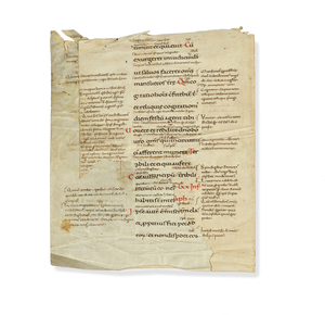 Manuscript Pages circa 1050 a.d., on Vellum, of Psalms 77 & 78, with Latin Glosses