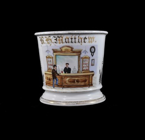 Antique Occupational Shaving Mug - Bartending Scene (W. G. and Co, Limoges)
