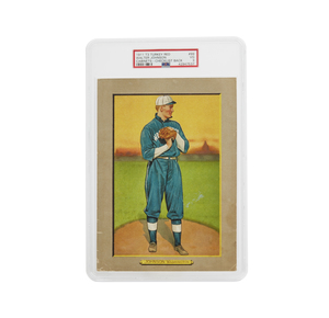 1911 T3 Turkey Red Walter Johnson Cabinet Card - Checklist Back