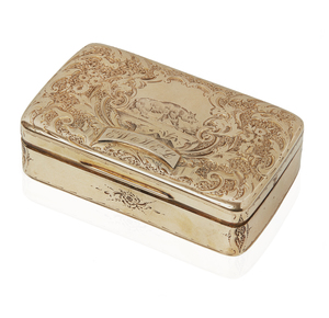 Finely Engraved California Bear Gold Snuff Box, 39.3 grams