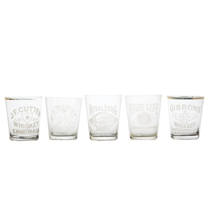 Five San Francisco Etched Shot Glasses