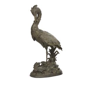 Spelter Sculpture, Paul Comolera (1818-1897), Shorebird with Frog