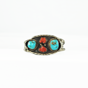 S. Jamez, Silver Turquoise, and Coral Cuff