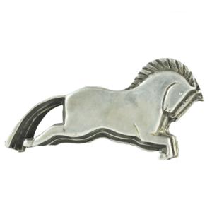 Triple Horse Form Sterling Silver Belt Buckle