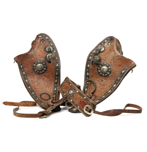 Edward H. Bohlin, Silver Mounted Brown Leather Tapaderos and Breast Collar