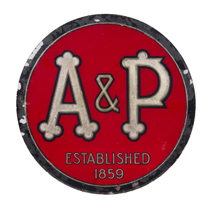 A & P Reverse Glass Advertisement
