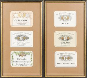 Framed Beringer Wine Labels