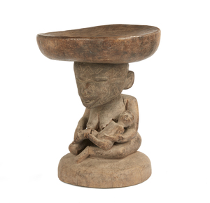 Makonde Wood Caryatid Stool