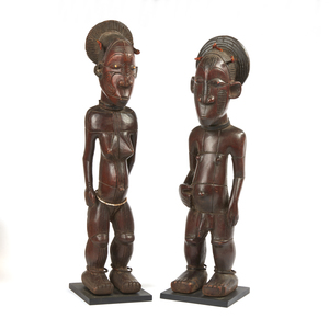 Pair of Standing Mangbetu Beli Wood Figures