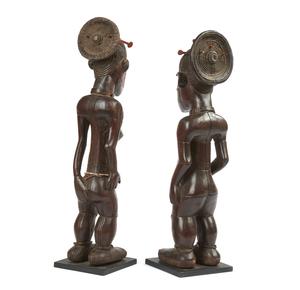 Pair of Standing Mangbetu Beli Wood Figures