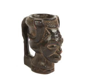 Kuba Carved Wood Chief Drinking Cup