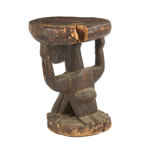 Yoruba Wood Caryatid Stool