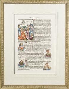 Woodcut Pages from the Nuremberg Chronicles (Serta Etas Mundi. Folium. CIX and Quinta Etas Mundi. Folium. XCIII.)