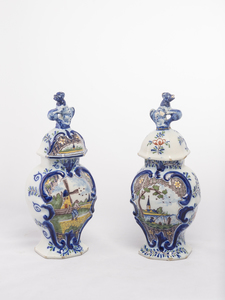 Pair Delft Polychrome Garnitures