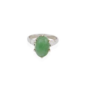 14k White Gold Jadeite Ring