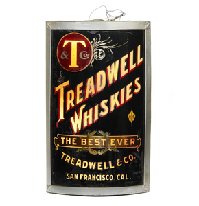 Treadwell Whiskies Reverse Glass Corner Sign