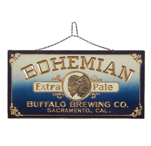 Reverse Painted Tin Back Buffalo Brewing Co.
