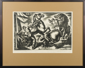 Umberto Romano AAA Litho Frightened Horses