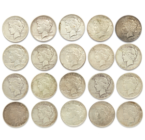 Twenty Mixed Dates Peace Silver Dollars