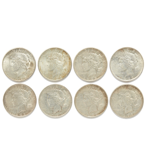 Eight Mixed Dates Peace Silver Dollars