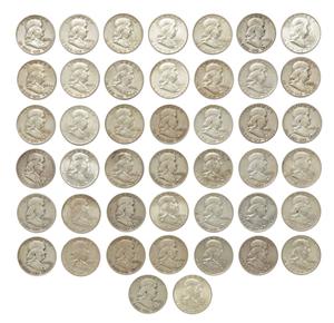 Twenty Four Mixed Dates Franklin Half Dollars