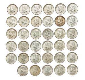 Thirty Five 1964 Kennedy Silver Half Dollars