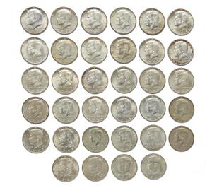 Thirty Four 1965-1969 Kennedy Half Dollars