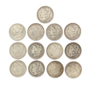 Thirteen Mixed Dates Morgan Silver Dollars