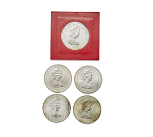 Five Bahama Islands Two Dollar Sterling Silver Coins