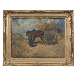 Painting,  Man with Horse Drawn Cart