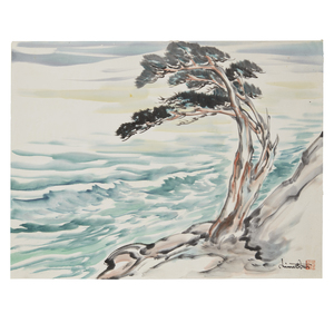 Chiura Obata (1885-1975), Watercolor, Carmel Cypress