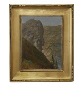 Albert Bierstadt (1830-1902) Painting, Western Rock Formation