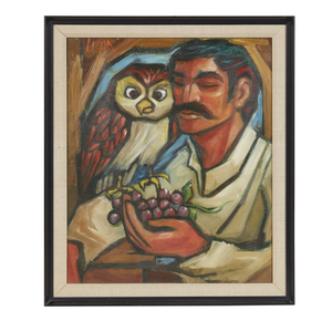 Carlos Licon (1929-1982), Painting, Man with Owl