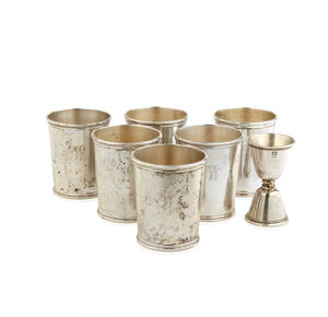 Six Sterling Kentucky Derby Mint Julep Cups and Jigger, 29.4 ozt