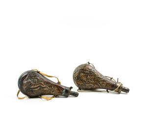 Pair of 19th Century Copper Powder Flasks