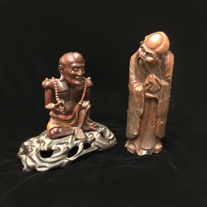 Two Asian-Style Wood Figures