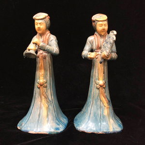 Two Ceramic, Standing Musician Ladies