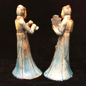 Two Ceramic, Standing Musician Ladies
