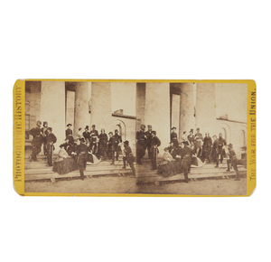 Civil War Stereo View; Gen. Heintzleman and Mathew Brady at Arlington House, Va.