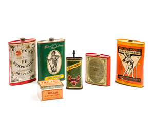 Six Gunpowder and Other Assorted Tins