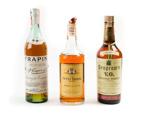 Three Bottles of Liquor - Seagram's, Sunny Brook, Frapin