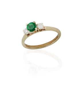 Emerald / Diamond 14k Ring