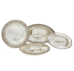 Four Sterling Silver Serving Trays, 22 ozt