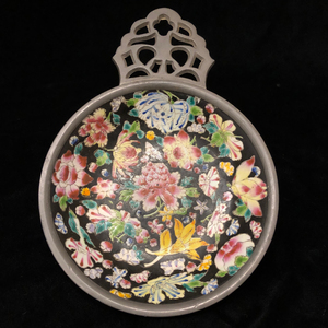 Chinese Pewter and Cloisonne Dish