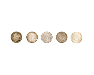 Five Assorted Silver Dollars
