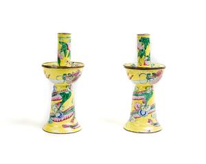 Chinese Canton Enamel Candlesticks