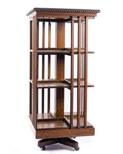 Revolving Oak Library Book Case