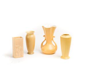 Three (3) ROOKWOOD Yellow Vases/RUMRILL Vase